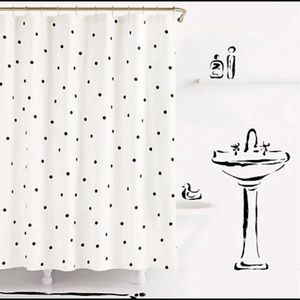 Kate spade deco dot shower curtain black and white